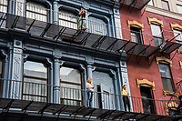NEW YORK, NEW YORK - JUNE 03: People from their windows support protesters during a protest against the death of George Floyd on June 3, 2020 in Brooklyn, New York. Protests spread across the country in at least 30 cities across the United States, over the death of unarmed black man George Floyd at the hands of a police officer, this is the latest death in a series of police deaths of black Americans. (Photo by Pablo Monsalve / VIEWpress via Getty Images)