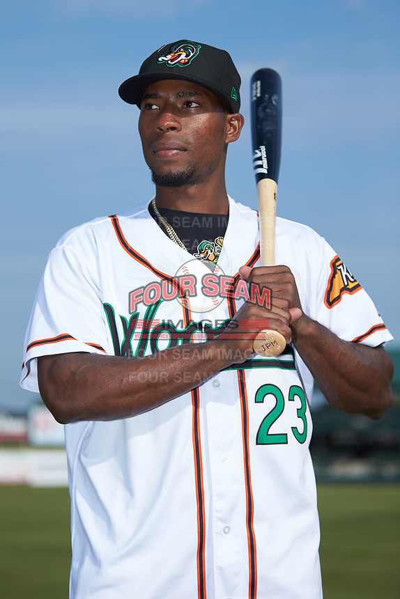 Julio Pablo Martinez (23) of the Down East Wood Ducks poses for a photo prior to the game against the Winston-Salem Dash at Grainger Stadium Field on May 17, 2019 in Kinston, North Carolina. The Dash defeated the Wood Ducks 8-2. (Brian Westerholt/Four Seam Images)