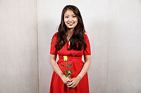 Contestant Nicolette Chin of Singapore poses at a photo booth during the opening reception and dinner of the 11th USA International Harp Competition at Indiana University in Bloomington, Indiana on Wednesday, July 3, 2019. (Photo by James Brosher)