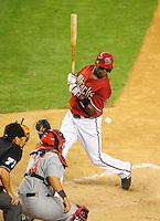 Apr. 14, 2009; Phoenix, AZ, USA; Arizona Diamondbacks batter Justin Upton gets hit by a pitch in the eighth inning against the St. Louis Cardinals at Chase Field. The Diamondbacks defeated the Cardinals 7-6 in 10 innings. Mandatory Credit: Mark J. Rebilas-
