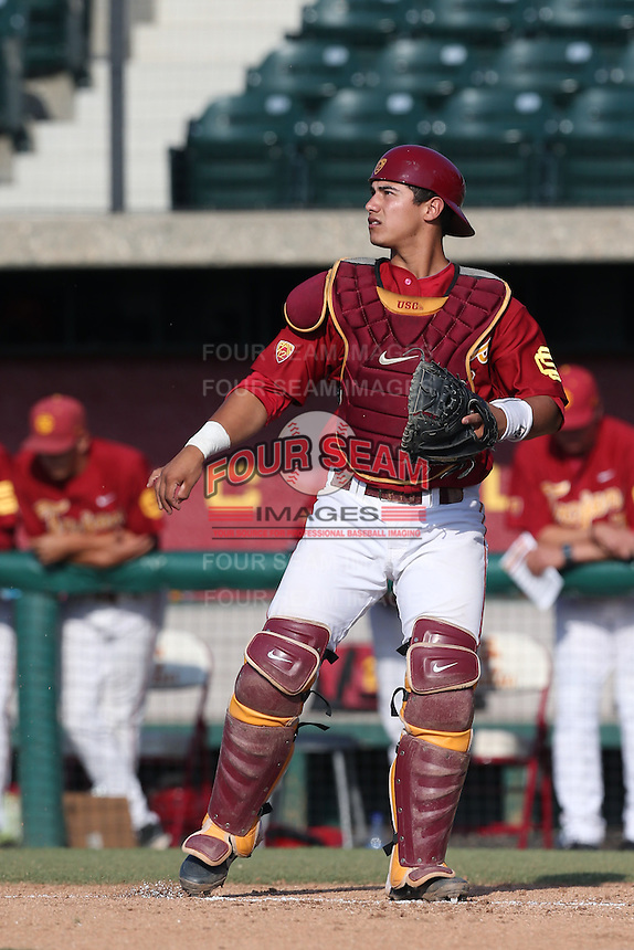 Jeremy Martinez #2 of the Southern California Trojans in the field during a game against the Oregon State Beavers at Dedeaux Field on May 23, 2014 in Los Angeles, California. Southern California defeated Oregon State, 4-2. (Larry Goren/Four Seam Images)