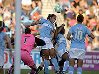 Chicago Red Star defender Jill Oakes (24) heads away a corner kick.  The Chicago Red Stars defeated the FC Gold Pride 3-1 at Toyota Park in Bridgeview, IL on July 12, 2009.