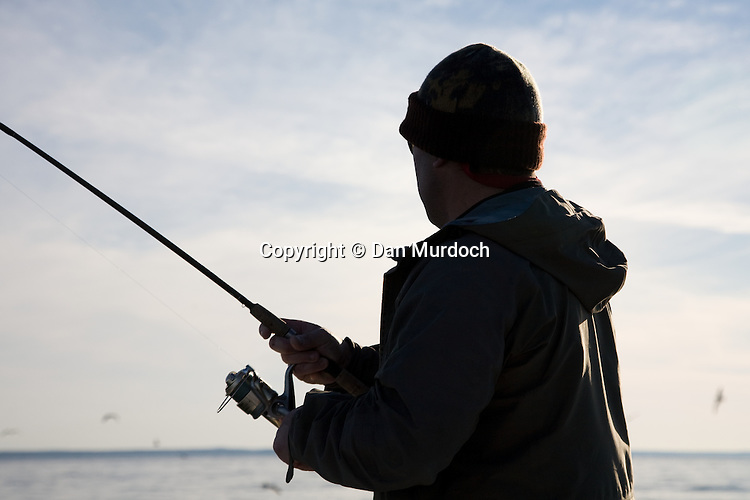 Fall fishing on a chilly day in Long Island Sound