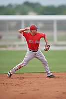 Boston Red Sox Chad De La Guerra (7) throws to first base during a minor league Spring Training intrasquad game on March 31, 2017 at JetBlue Park in Fort Myers, Florida. (Mike Janes/Four Seam Images)