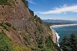 Historic Rockwork on Highway 101 at Neakahnie Mountain near Manzanita on the Oregon Coast..#06062143
