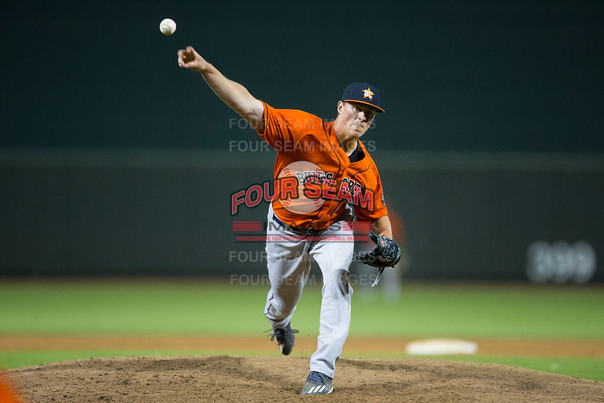 Buies Creek Astros relief pitcher Andrew Thome (11) in action against the Winston-Salem Dash at BB&T Ballpark on April 15, 2017 in Winston-Salem, North Carolina.  The Astros defeated the Dash 13-6.  (Brian Westerholt/Four Seam Images)