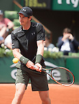 May 25, 2016:  Andy Murray (GBR) defeated Mathias Bourgue (FRA) 2-6, 6-2, 4-6, 6-3, at the Roland Garros being played at Stade Roland Garros in Paris, .  ©Leslie Billman/Tennisclix/CSM
