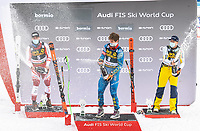 29th December 2020; Stelvio, Bormio, Italy; FIS World Cup Super for Men; left to right: second placed Vincent Kriechmayr of Austria winner Ryan Cochran Siegle of the USA third placed Adrian Smiseth Sejersted of Norway celebrate with Champagne during the winners ceremony