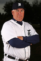 February 27, 2010:  Coach Rick Knapp (52) of the Detroit Tigers poses for a photo during media day at Joker Marchant Stadium in Lakeland, FL.  Photo By Mike Janes/Four Seam Images