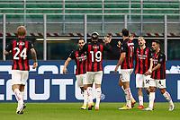 Calcio, Serie A: Inter Milano - AC Milan , Giuseppe Meazza (San Siro) stadium, in Milan, October 17, 2020.<br /> Milan's Zlatan Ibrahimovic (third from right) celebrates after scoring with his teammates  during the Italian Serie A