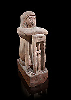 "Ancient Egyptian statue of Qen, priest of Anukis, sanstone, New Kingdom, 19th Dynasty, (1292-1191 BC), Isalnd of sehel. Egyptian Museum, Turin. black background,<br /> <br /> Qen was a ""gods father of Amon of Elephantine and of Khnum, Satis and Anukis"". Elephantine is a Greek name of the present day Aswan. The naos, shrine, contains a female wearing a high plumed headdress. She is Anukis goddess of the Nile flood. With the ram-heahed god Khum and the goddess Satis, she formed the triad of the Elephantine. The statue probably comes from the temple of the Triad on Sehel Island just south of Elephantine.. Drovetti collection. Cat 3016."