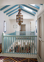 The Casita is decorated in muted tones of blue, white and grey, punctuated with brightly coloured, patterned textiles