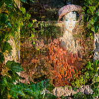 Mannequin in a window, with ivy foliage, French chateau