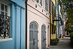 Rainbow Row, East Bay St,  Charleston, SC, USA