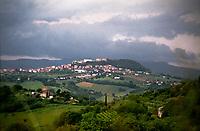 Veduta dal Parco regionale del Monte Conero verso Camerano, paese in provincia di Ancona --- View from the Mount Conero towards Camerano, small village near Ancona