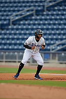Biloxi Shuckers Trent Grisham (6) leads off first base during a Southern League game against the Montgomery Biscuits on May 8, 2019 at MGM Park in Biloxi, Mississippi.  Biloxi defeated Montgomery 4-2.  (Mike Janes/Four Seam Images)