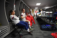 JACKSONVILLE, FL - NOVEMBER 10: Mallory Pugh #2, Becky Sauerbrunn #4 and the USWNT locker room during a game between Costa Rica and USWNT at TIAA Bank Field on November 10, 2019 in Jacksonville, Florida.