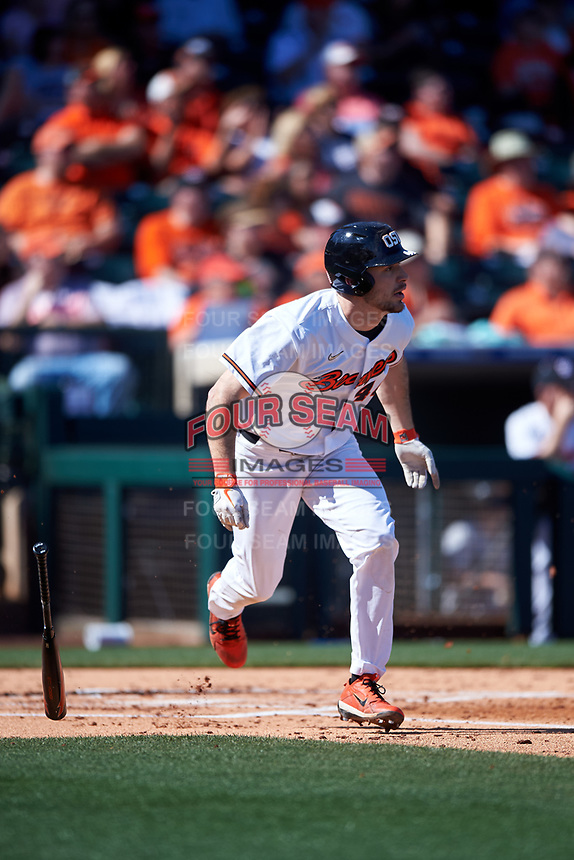 Oregon State Beavers Alex McGarry (44) runs to first base after hitting a home run during an NCAA game against the New Mexico Lobos at Surprise Stadium on February 14, 2020 in Surprise, Arizona. (Zachary Lucy / Four Seam Images)