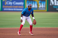 Clearwater Threshers third baseman D.J. Stewart (12) during a game against the Dunedin Blue Jays on May 18, 2021 at BayCare Ballpark in Clearwater, Florida.  (Mike Janes/Four Seam Images)