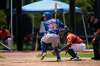 GCL Mets Kenedy Corona (22) at bat during a Gulf Coast League game against the GCL Astros on August 10, 2019 at FITTEAM Ballpark of the Palm Beaches Training Complex in Palm Beach, Florida.  GCL Astros defeated the GCL Mets 8-6.  (Mike Janes/Four Seam Images)
