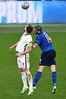 11th July 2021; Wembley Stadium, London, England; 2020 European Football Championships Final England versus Italy; Harry Kane and Leonardo Bonucci challenge for a header