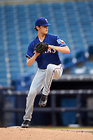 Pitcher Ian Anderson of Shenendehowa High School in Clifton Park, New York playing for the Texas Rangers scout team during the East Coast Pro Showcase on July 28, 2015 at George M. Steinbrenner Field in Tampa, Florida.  (Mike Janes/Four Seam Images)