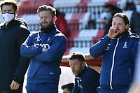 Bradford City AFC Manager Conor Sellars and Bradford City AFC Manager Mark Trueman  during Stevenage vs Bradford City, Sky Bet EFL League 2 Football at the Lamex Stadium on 5th April 2021