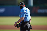 Home plate umpire Jacob McConnell during the game between the Augusta GreenJackets and the Charleston RiverDogs at Joseph P. Riley, Jr. Park on June 27, 2021 in Charleston, South Carolina. (Brian Westerholt/Four Seam Images)