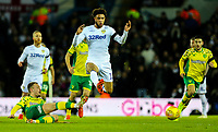 Leeds United's Tyler Roberts is tackled by Norwich City's Tom Trybull<br /> <br /> Photographer Alex Dodd/CameraSport<br /> <br /> The EFL Sky Bet Championship - Leeds United v Norwich City - Saturday 2nd February 2019 - Elland Road - Leeds<br /> <br /> World Copyright © 2019 CameraSport. All rights reserved. 43 Linden Ave. Countesthorpe. Leicester. England. LE8 5PG - Tel: +44 (0) 116 277 4147 - admin@camerasport.com - www.camerasport.com