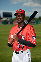 Batavia Muckdogs Milton Smith II (33) poses for a photo before a NY-Penn League game against the West Virginia Black Bears on June 26, 2019 at Dwyer Stadium in Batavia, New York.  Batavia defeated West Virginia 4-2.  (Mike Janes/Four Seam Images)