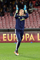 Thursday 27 February 2014<br /> Pictured: Swansea goalkeeper Gerhard Tremmel greets away supporters as he enters the picth to warm up before the game.<br /> Re: UEFA Europa League, SSC Napoli v Swansea City FC at Stadio San Paolo, Naples, Italy.
