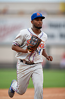 St. Lucie Mets center fielder John Mora (4) jogs back to the dugout during the second game of a doubleheader against the Lakeland Flying Tigers on June 10, 2017 at Joker Marchant Stadium in Lakeland, Florida.  Lakeland defeated St. Lucie 9-1.  (Mike Janes/Four Seam Images)