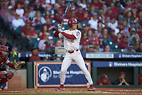 Trent Brown (2) of the Oklahoma Sooners at bat against the Arkansas Razorbacks in game two of the 2020 Shriners Hospitals for Children College Classic at Minute Maid Park on February 28, 2020 in Houston, Texas. The Sooners defeated the Razorbacks 6-3. (Brian Westerholt/Four Seam Images)