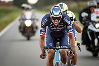 Mathieu van der Poel (NED/Alpecin-Fenix) putting his game-face on.<br /> <br /> Antwerp Port Epic / Sels Trophy 2021 (BEL)<br /> One day race from Antwerp to Antwerp (183km)<br /> <br /> The APC stands qualified as a 'road race', but with 36km of gravel and 28km of cobbled sections in and around the Port of Antwerp (BEL) this race occupies a unique spot in the Belgian race scene.<br /> <br /> ©kramon