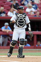 Catcher Kevin Martir (32) of the Maryland Terrapins in an NCAA Division I Baseball Regional Tournament game against the Old Dominion Monarchs on Friday, May 30, 2014, at Carolina Stadium in Columbia, South Carolina. Martir was named to the tournament's All-Regional Team. Maryland won, 4-3. (Tom Priddy/Four Seam Images)