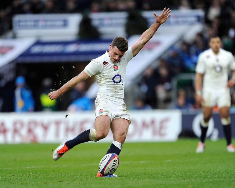 George Ford of England takes a conversion attempt during the RBS 6 Nations match between England and Italy at Twickenham Stadium on Saturday 14th February 2015 (Photo by Rob Munro)