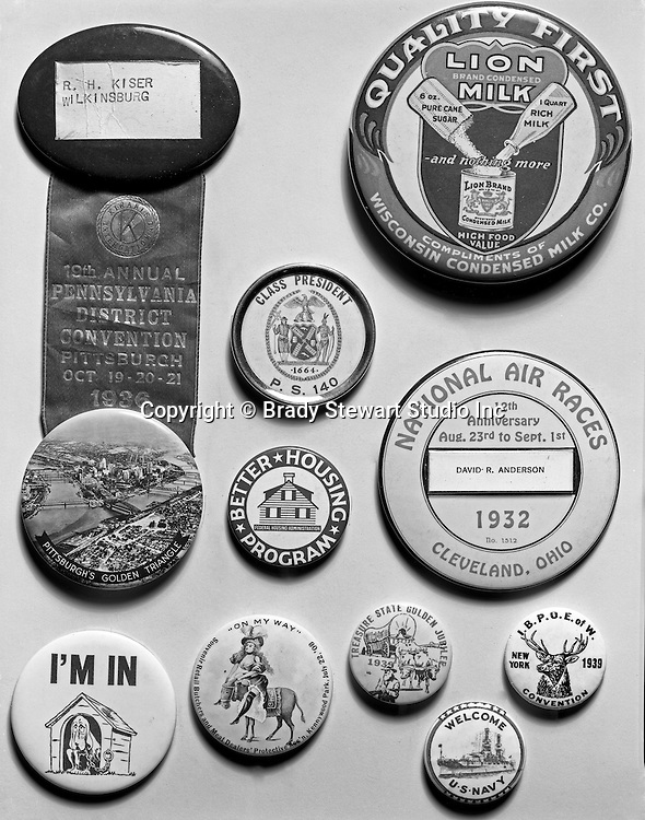 Client: A.G. Trimble Company<br /> Ad Agency: none<br /> Contact: Mr. Arthur Trimble<br /> Product: Promotional Buttons<br /> Location: Brady Stewart Studio, 725 Liberty Avenue, Pittsburgh<br /> <br /> Studio photography of AG Trimble's  Republican Political buttons. The AG Trimble company was an Advertising Specialties company located in the Jenkins Arcade building on Liberty Avenue in Pittsburgh.