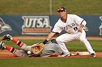 SAN ANTONIO, TX - MARCH 27, 2012: The University of Texas Pan American Broncos vs. The University of Texas at San Antonio Roadrunners Baseball at Roadrunner Field. (Photo by Jeff Huehn)