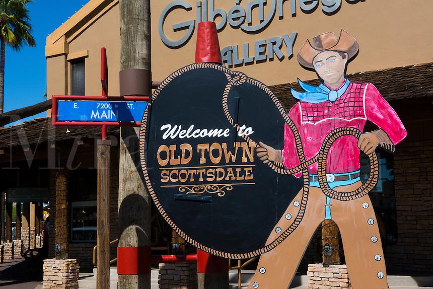 Old Scottsdale Arizona sign for tourist area 5th Avenue and  Scottsdale Road near Phoenix