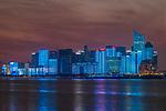 China, Zhejiang, Hangzhou, City Skyline at Twilight