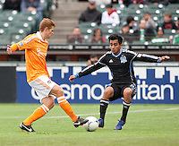 San Francisco, California - Saturday March 17, 2012: Andre Hainault and Rafael Baca in action during the MLS match at AT&T Park. Houston Dynamo defeated San Jose Earthquakes  1-0