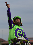DEL MAR, CA - NOVEMBER 03: Javier Castellano, aboard Rushing Fall #11, looks to the sky after winning the Breeders' Cup Juvenile Fillies Turf race on Day 1 of the 2017 Breeders' Cup World Championships at Del Mar Thoroughbred Club on November 3, 2017 in Del Mar, California. (Photo by Bob Mayberger/Eclipse Sportswire/Breeders Cup)