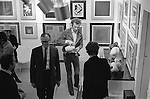Patrick Procktor. His opening Redfern gallery Cork Street London 1969. Seen here down stairs his work on ground floor.