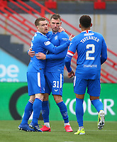 7th February 2021; Fountain of Youth Stadium Hamilton, South Lanarkshire, Scotland; Scottish Premiership Football, Hamilton Academical versus Rangers; Borna Barisic of Rangers celebrates after his cross which Brian Easton of Hamilton Academical turns into his own net making it 1-0 to Rangers in the 80th minute with an own goal