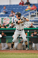 West Virginia Black Bears first baseman Luke Mangieri (39) at bat during a game against the Batavia Muckdogs on June 18, 2018 at Dwyer Stadium in Batavia, New York.  Batavia defeated West Virginia 9-6.  (Mike Janes/Four Seam Images)