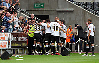 ATTENTION SPORTS PICTURE DESK<br /> Pictured: Alan Tate of Swansea mobbed by team mates, celebrating his equalizer<br /> Re: Coca Cola Championship Swansea City Football Club v Watford at the Liberty Stadium, Swansea, south Wales. Saturday 29 August 2009<br /> Picture by D Legakis Photography / Athena Picture Agency, 24 Belgrave Court, Swansea, SA1 4PY, 07815441513