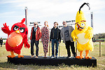 "The left to the right, Red Bird, Santiago Segura, Cristina Castaño, Jose Mota, Alex de la Iglesia and Yellow Bird during the presentation of the film ""Angry Birds"" at Hipodromo de Zarzuela in Madrid. April 25,2016. (ALTERPHOTOS/Borja B.Hojas)"