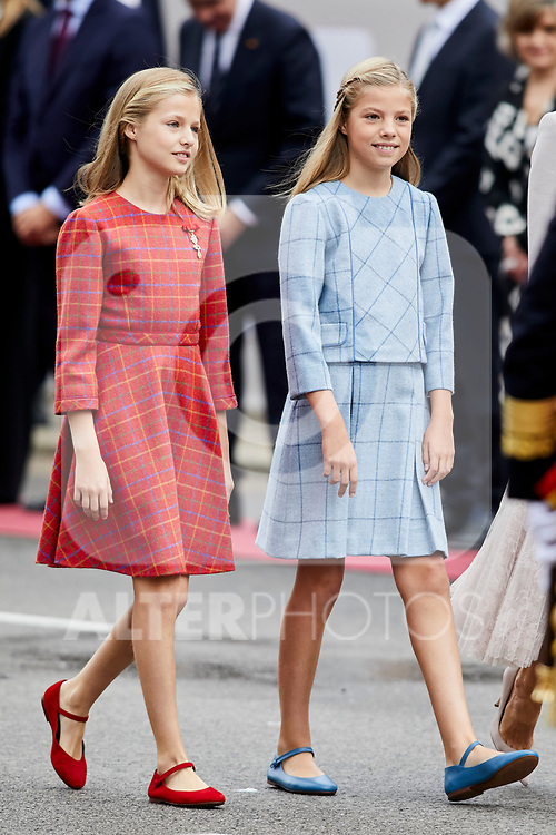 Princess Leonor of Spain and Princess Sofia of Spain attends to Spanish National Day military parade in Madrid, Spain. October 12, 2018. (ALTERPHOTOS/A. Perez Meca)
