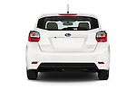 Straight rear view of a 2015 Subaru Impreza 2.0I Auto 4 Door Hatchback Rear View  stock images