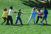 MR / Schenectady, NY. Yates Arts in Education Magnet Elementary School. First and second grade students play tug of war on playground. MR: AJ-LC. ID: AJ-LC. © Ellen B. Senisi